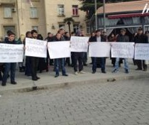 drivers on strike in Rustavi 2014-02-21