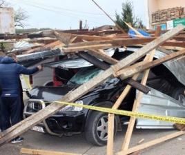Car smashed by fallen debris