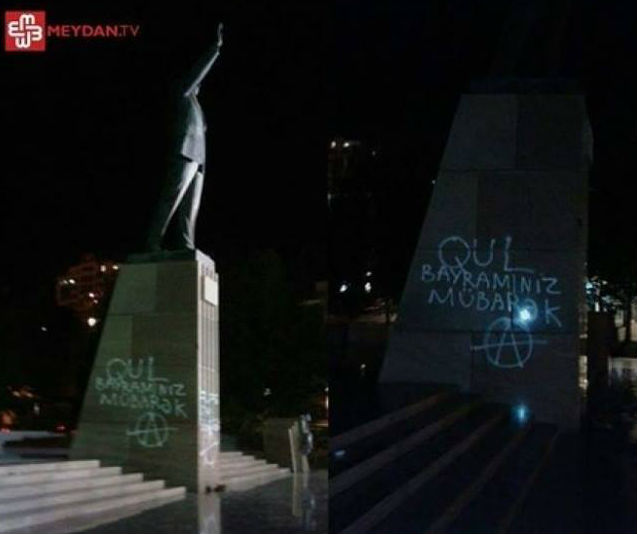 Azeri activist tortured, humiliated for drawign graffiti on Haydar Alyev's statue