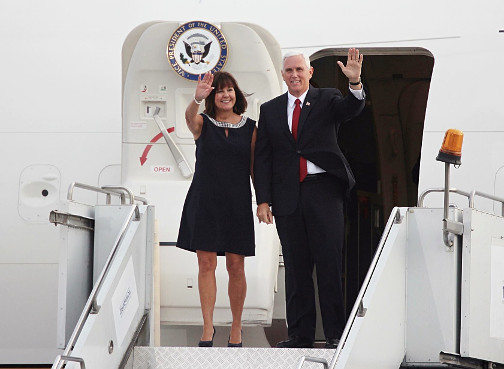 US Vice President Mike Pence visiting Georgia