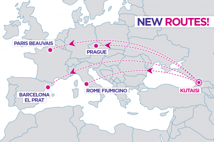 New Wizz Air routes from Kutaisi to Paris, Rome, Barcelona and Prague