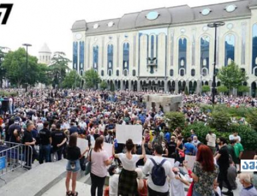 Rally in Tbilisi calls for PM's resignation after death of cameraman beaten in July 5 violence